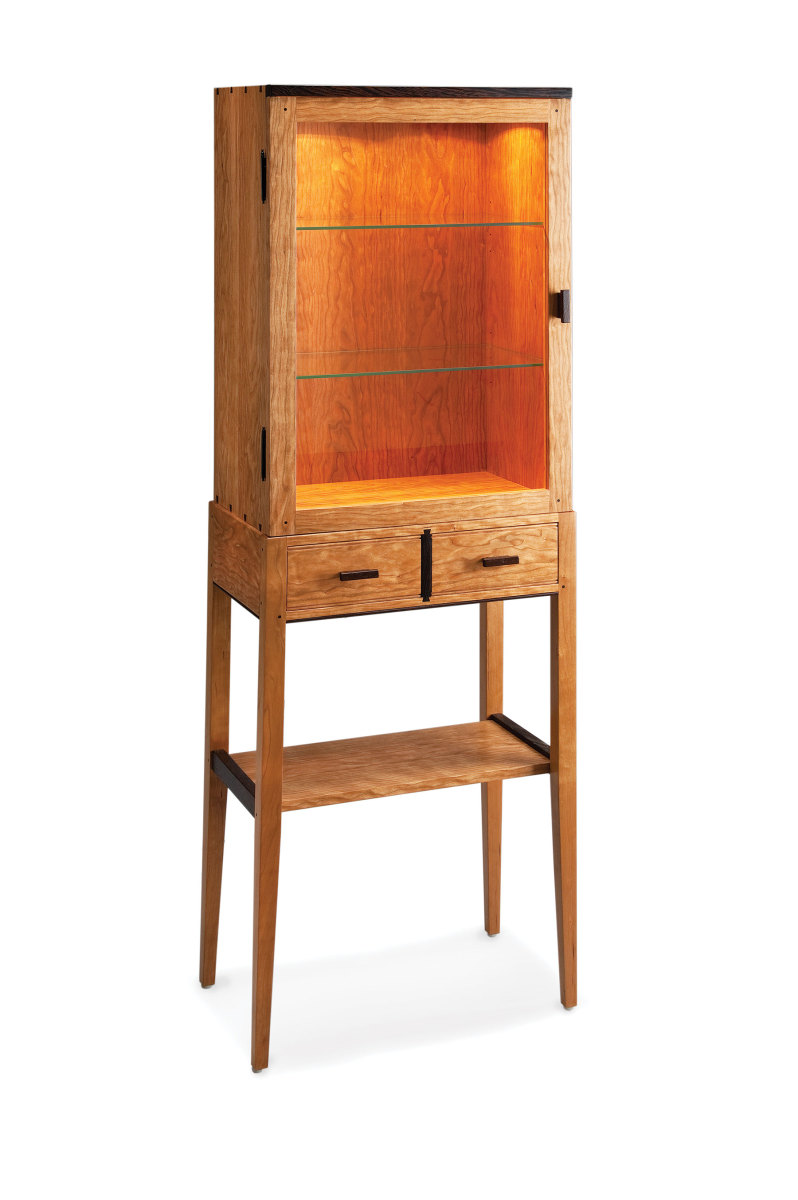 Tall Cherry Display Cabinet.