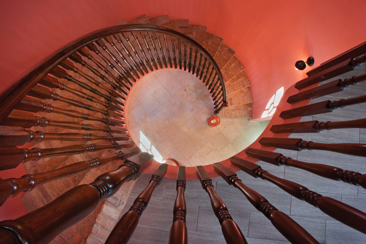 Spiral stairwell balusters, designed and fabricated by Caribe-Craft, and work for the Westin St. John Resort Villas.