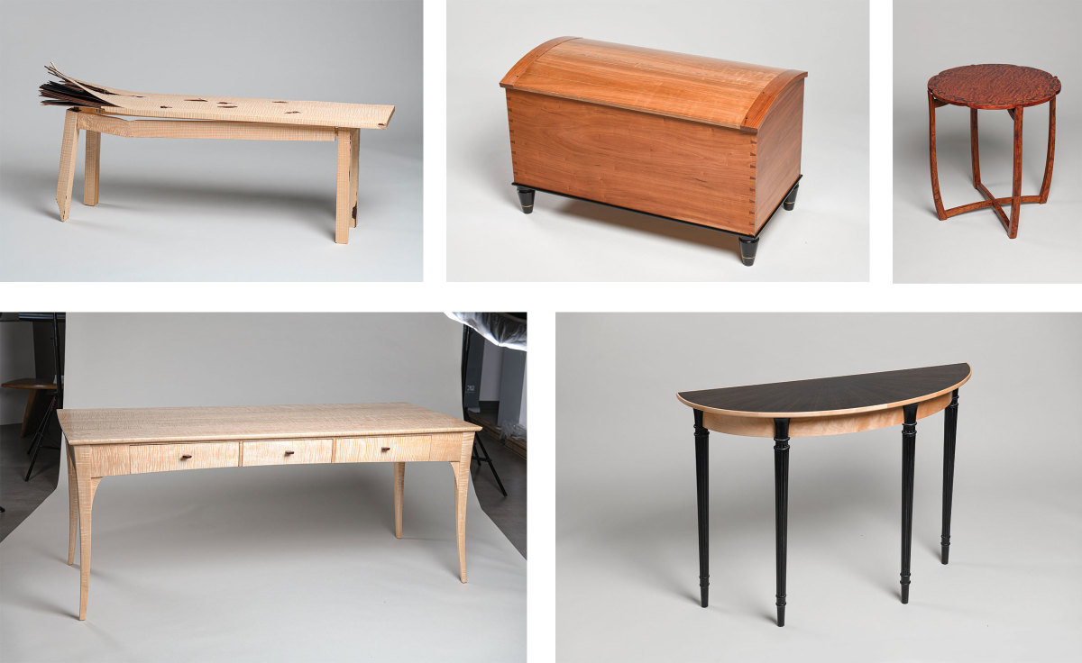 """The """"Alone Together"""" exhibit features work by Liz Grace (bench), Garrett Hack (chest), Ted Blachly (desk), Tim Coleman (table) and Richard Oedel (demilune table)."""