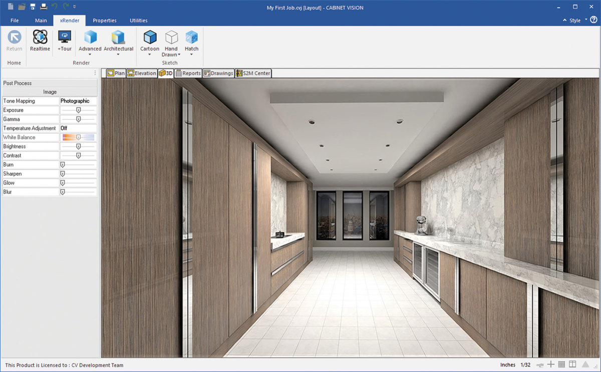 A 3D-rendered walkthrough in Cabinet Vision.