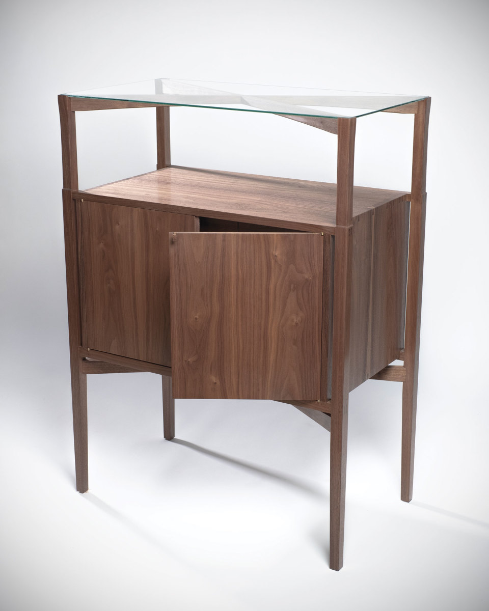 Furniture in the Messler Gallery exhibit includes this cabinet by Sam Cotton