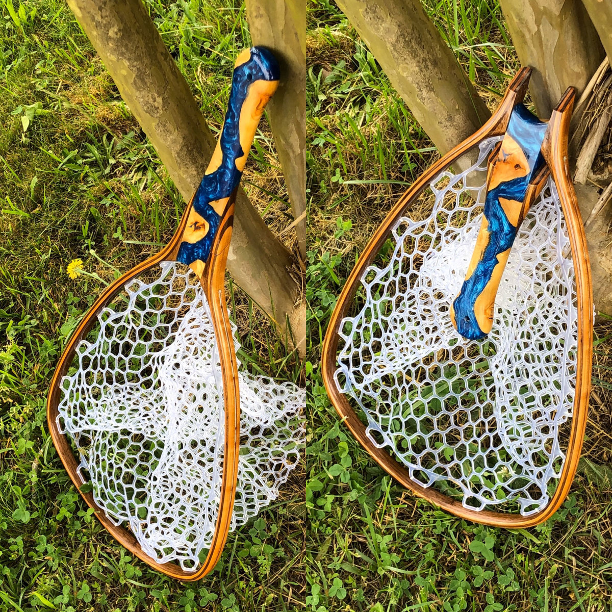 "Brady's 40"" River Net features a folding handle and epoxy river design."