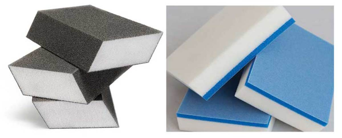 Dual Angle and Magic Sand abrasive sponges from Abrapower USA.