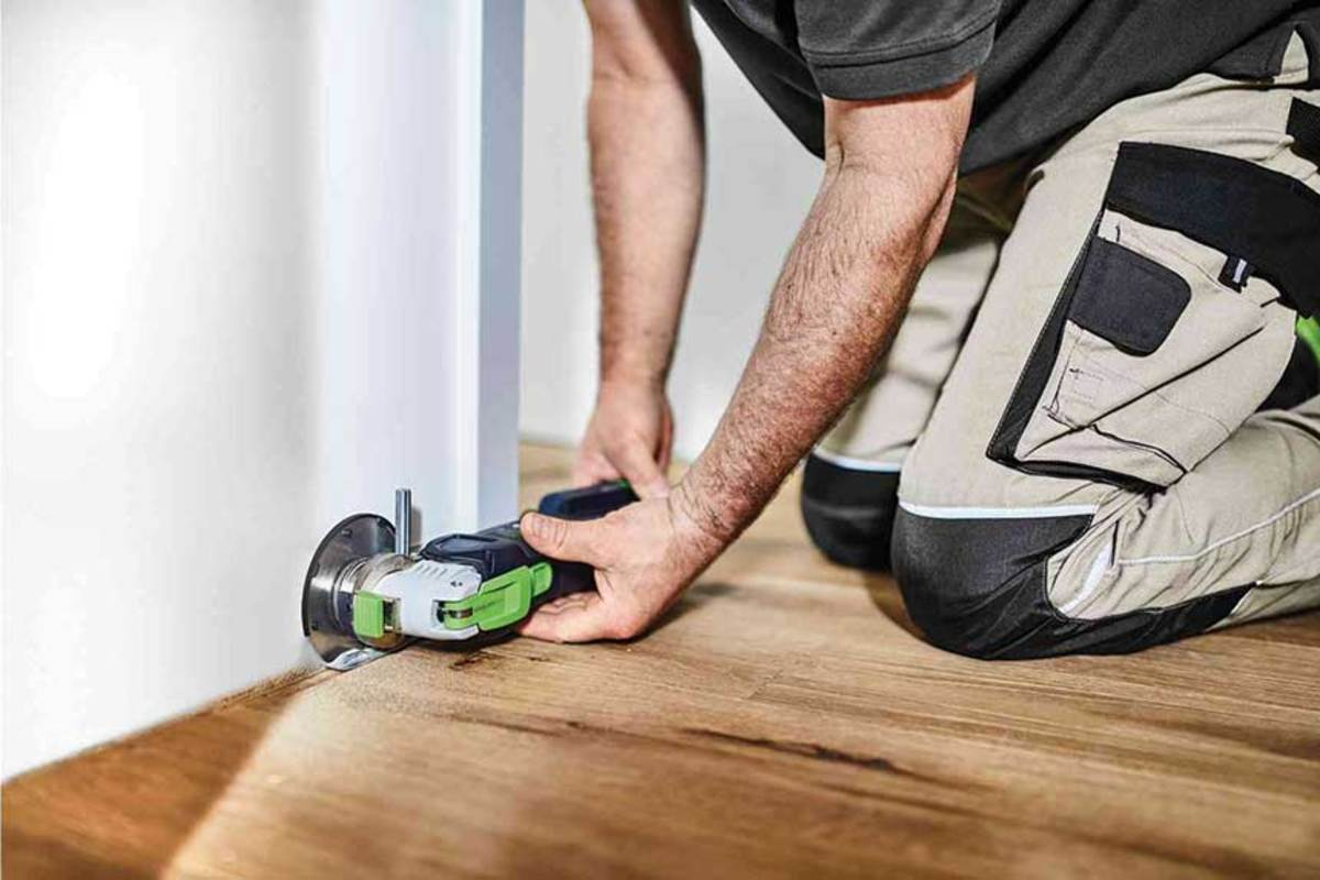 Festool's Vecturo cordless oscillating tool with saw attachment.