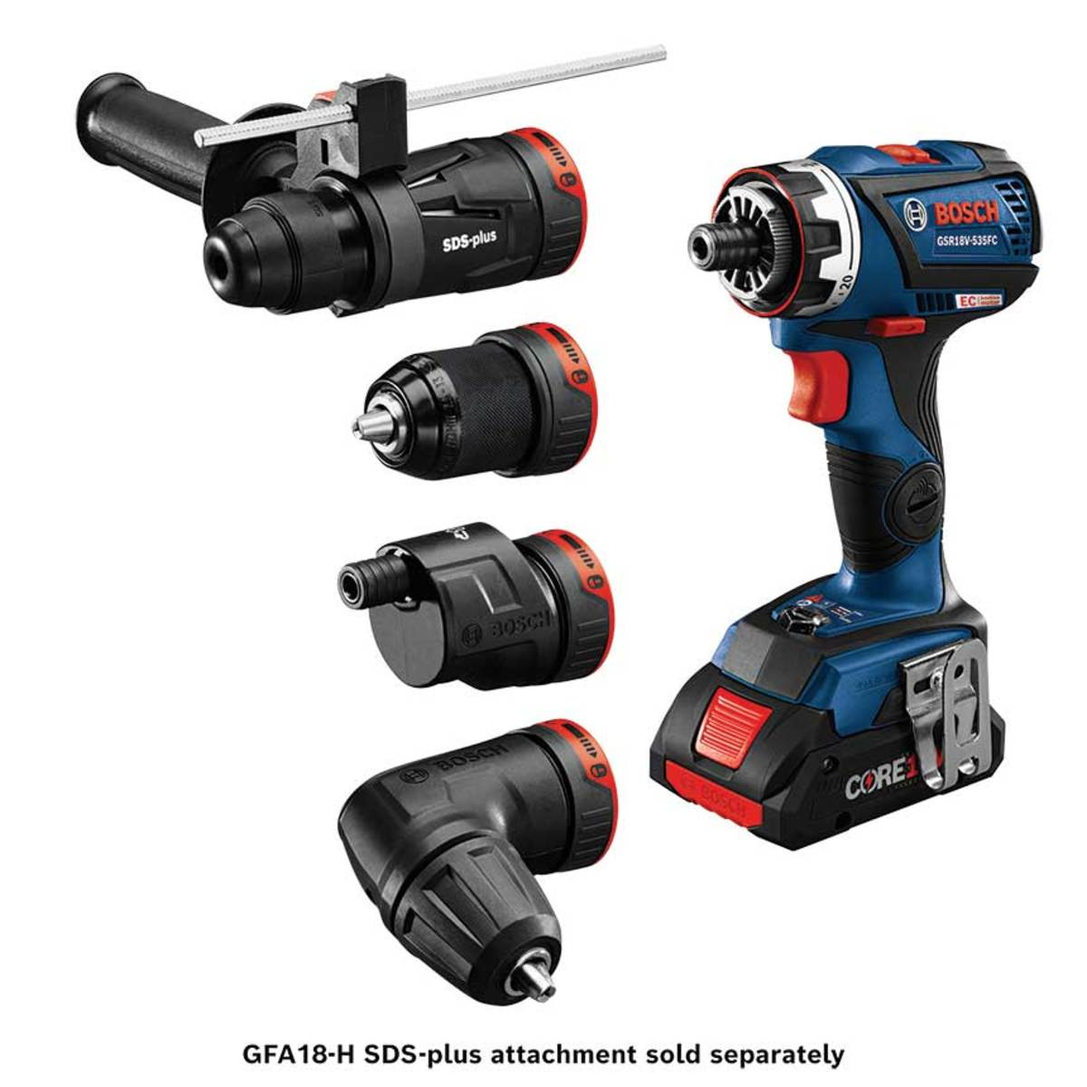 The Bosch FlexiClick is offered in a kit with three attachments. A rotary hammer attachment (top) is sold seperately.