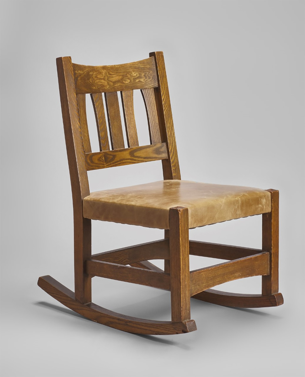 Stool and rocker made in 1901 by the United Crafts Workshops
