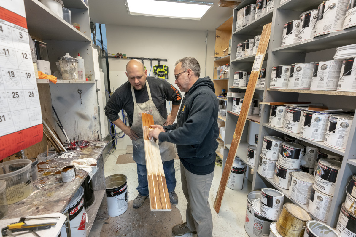The mixing room at From the Heart Cabinetry in Potsdam, N.Y.