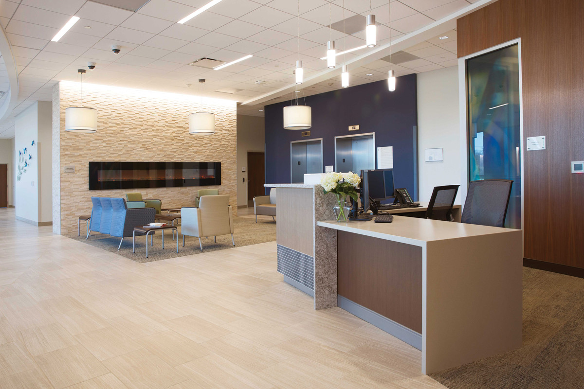 Reception areas at healthcare facilities, a big market for Cohen Architectural Woodworking.