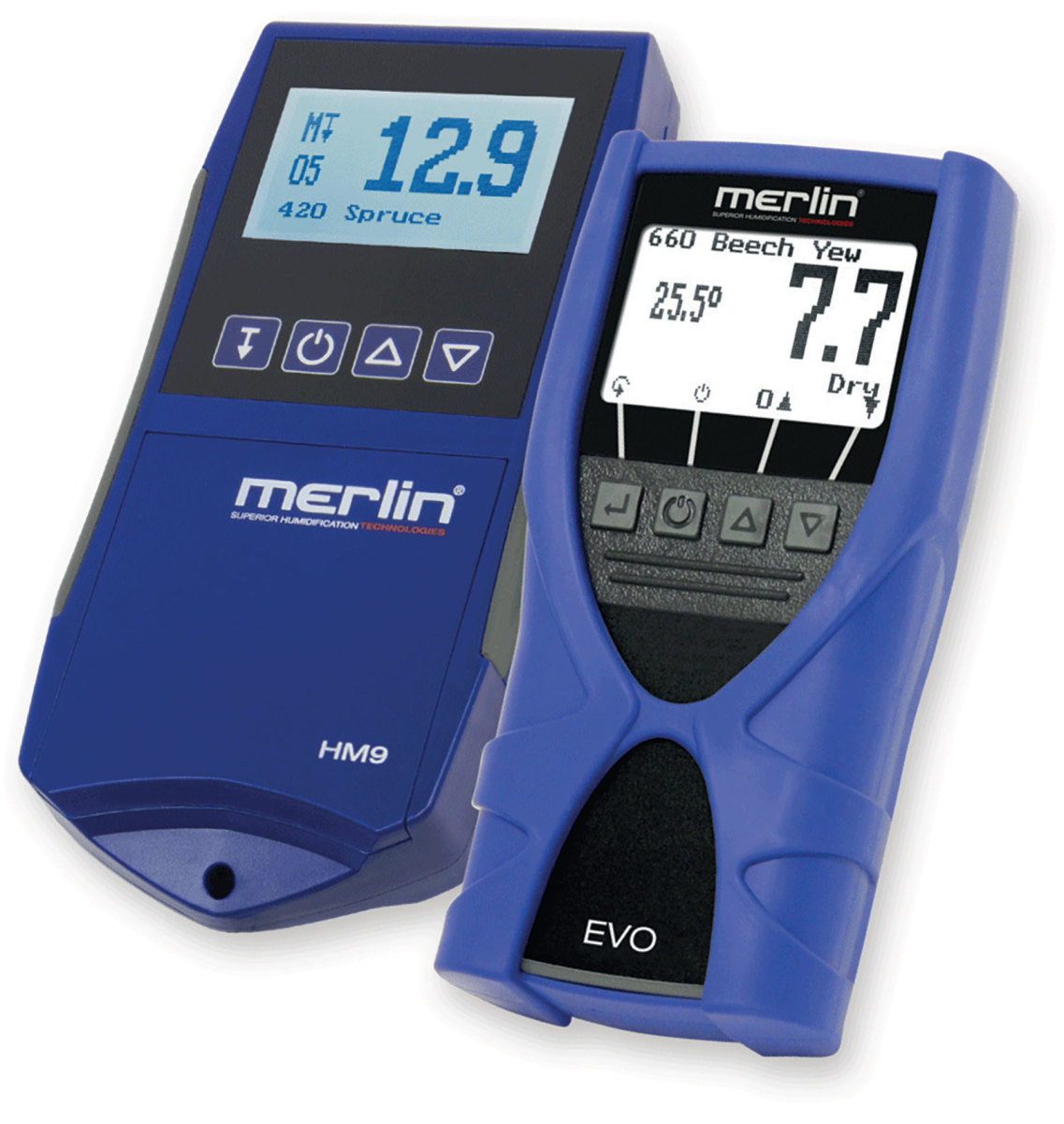 Merlin's HM9 (left) and EVO pinless moisture meters.