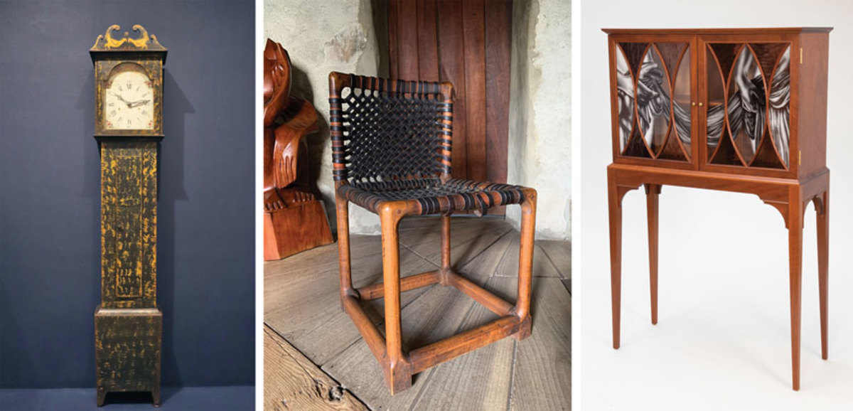 """The """"Chicken Clock"""" from Tennessee Fancy, Wharton Esherick's """"Hessain Hills Chair"""", and """"Partially Draped Cabinet"""" by Esherick exhibitor Aspen Golann."""