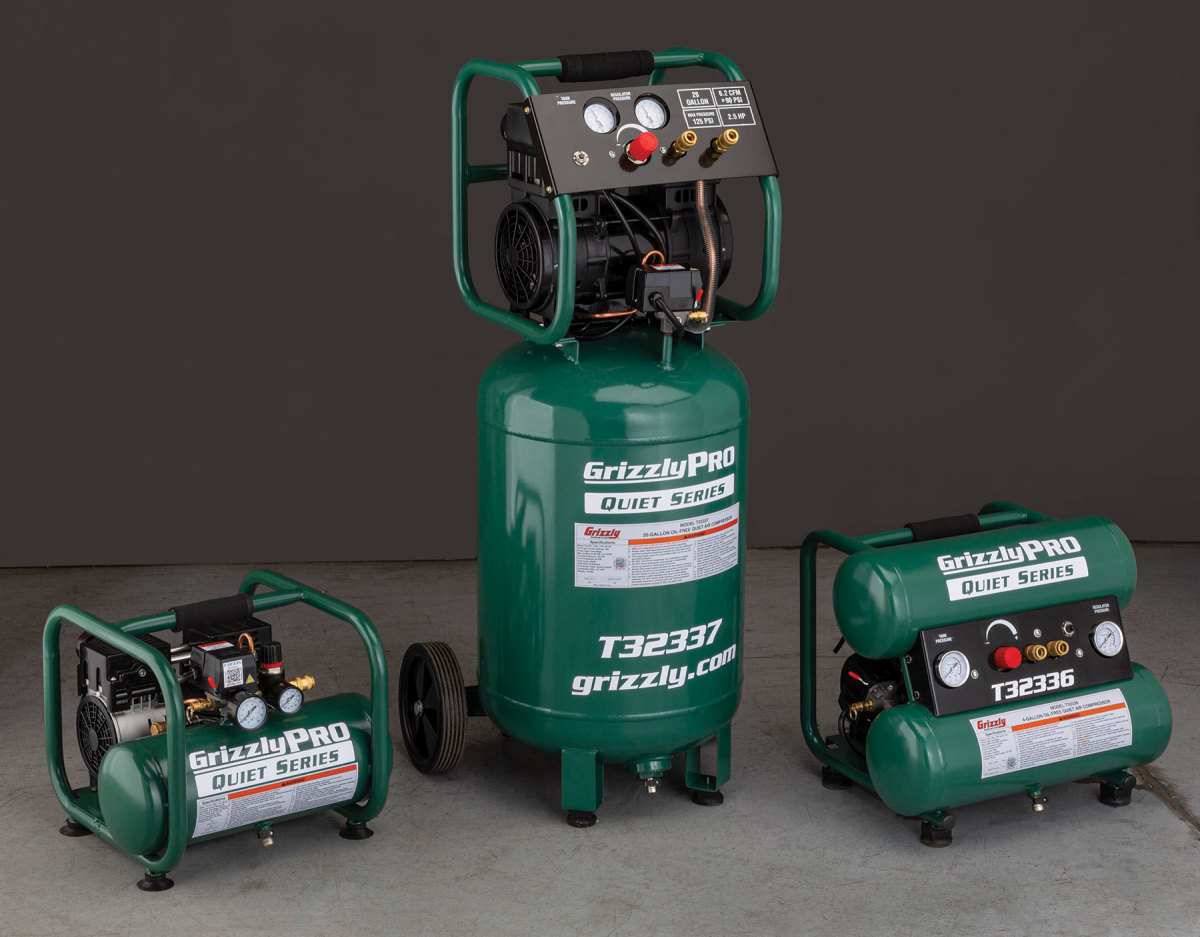 Grizzly's new 2-, 20- and 4-gallon air compressors.