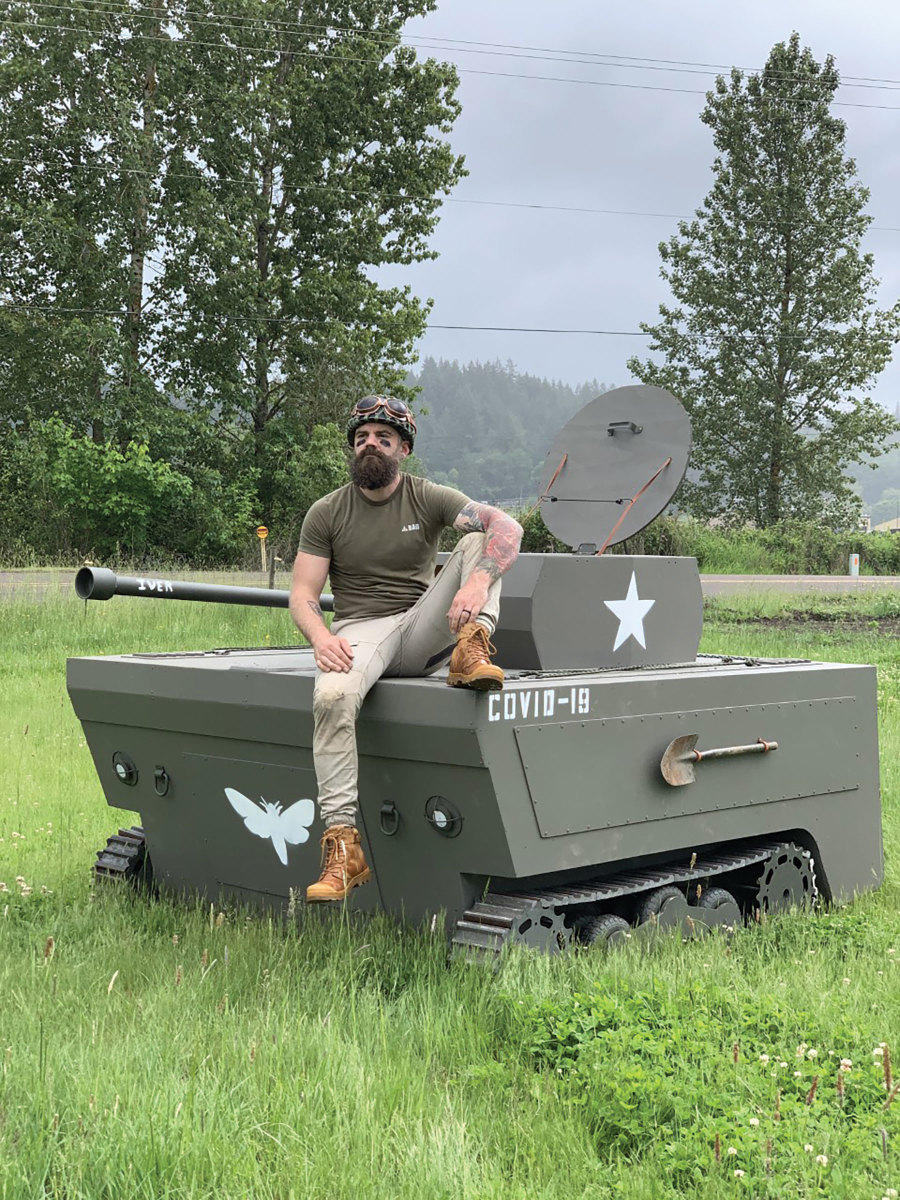 For something completely different, Hibbs built a McKenzie River drift boat and tank.