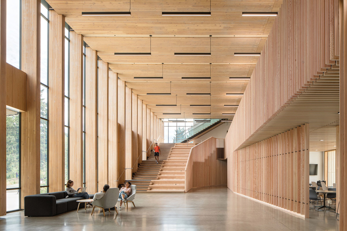 Oregon State University's Forest Science Complex in Corvallis, Ore., winner of the Wood in Schools category. Developer/owner: Oregon State University Architect: MGA - Michael Green Architecture Structural engineer: Equilibrium, a Katerra Co. Contractor: Andersen Construction.