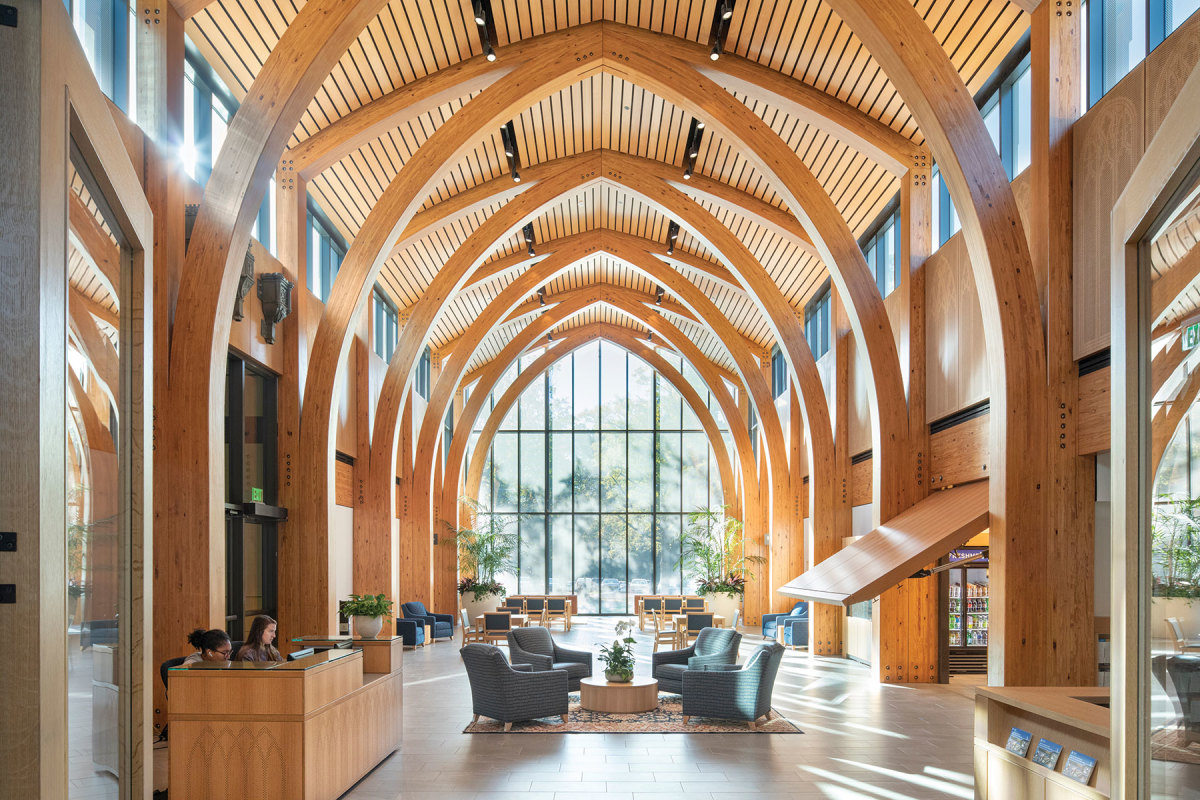 Karsh Alumni and Visitors Center at Duke University in Durham, N.C., winner of the Beauty of Wood category. Developer/owner: Duke University Architect: Centerbrook Architects and Planners Structural engineer: LHC Structural Engineers  Contractor: LeChase Construction