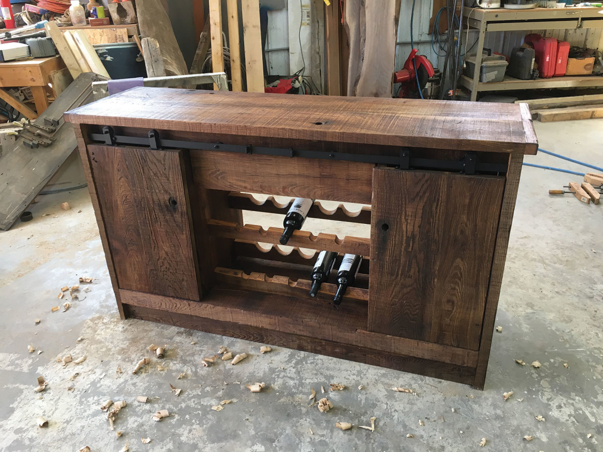 Cabinet made with reclaimed chestnut