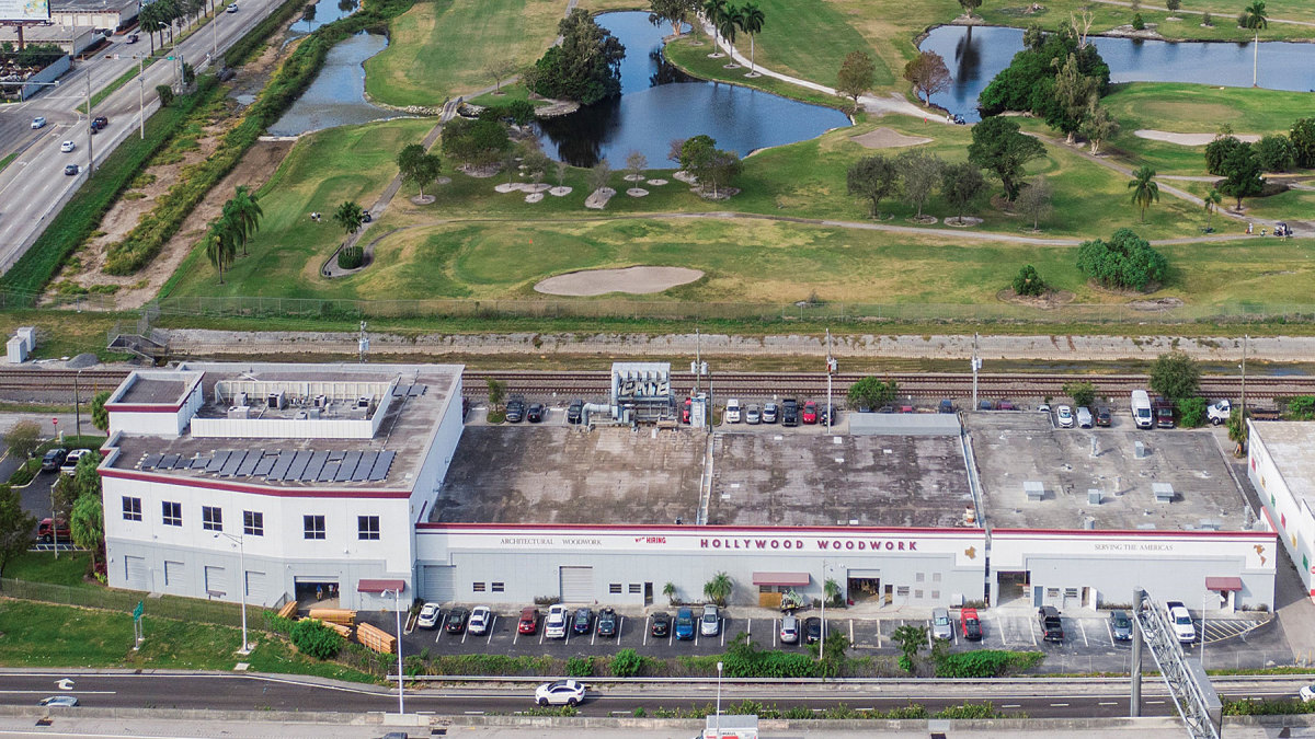 A drone shot of the company's 60,000-sq.-ft. facility in Hollywood, Fla.