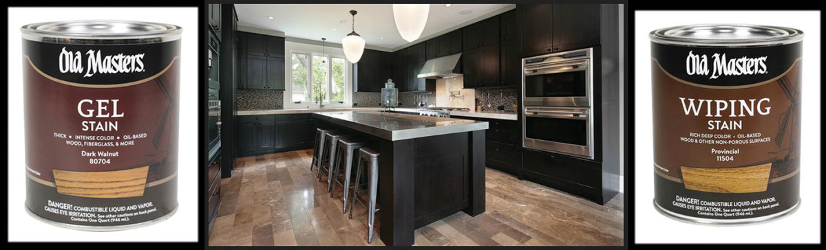 Old Master's Carbon Black, shown on a kitchen rendering, and ZAR's six new stain colors.
